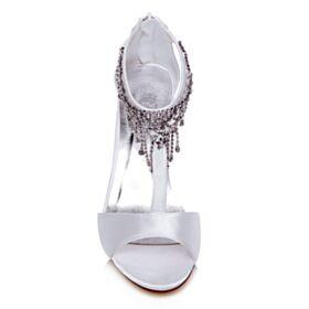Sandalen Satin Stilettos Weiß Brautschuhe 8 cm High Heel Elegante Peeptoes Mit Strasssteine
