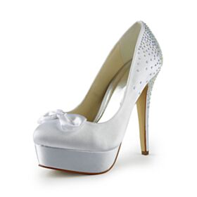 High Heels Wedding Shoes Stilettos Rhinestones Pumps Shoes White Platform Satin