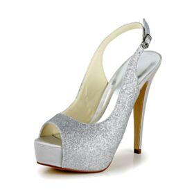 Mit 13 cm High Heel Silber Glitzer Slingpumps Glitzernden Stilettos Absatzschuhe Hochzeitsschuhe