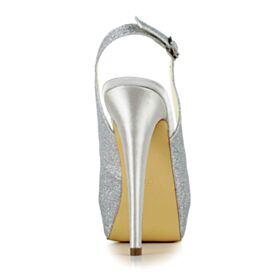 Plateforme Brillante Escarpins Chaussure Mariage 13 cm Talons Hauts Paillette Argenté Talons Aiguilles Peep Toes