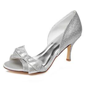 Zapatos Para Fiesta Stilettos Brillantes Sandalias Peep Toe Zapatos Novia Color Plata Tacones Altos 8 cm
