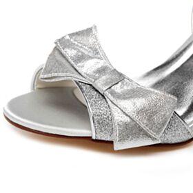 Tacchi A Spillo Scarpe Da Cerimonia Glitter Tacco Alto Spuntate Sandali Donna Con Fiocco Argento