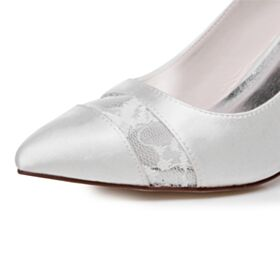 Bridals Wedding Shoes High Heel Pumps Elegant White Satin Pointed Toe