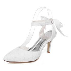 Met Strik Sandalen Dames Witte Stiletto Runtige Neus 2020 8 cm High Heels Elegante Satijnen