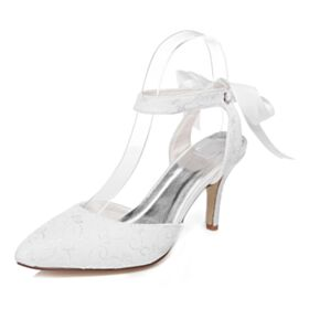 Zapatos De Novia Satin 8 cm Tacon Alto Elegantes En Punta Fina Blancos Stilettos Sandalias