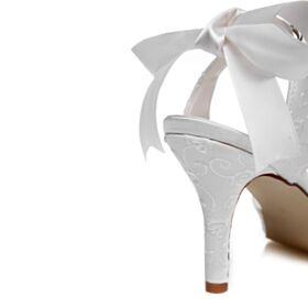 Bianco Tacco A Spillo Tacco Alto Scarpe Da Sposa Ricamati Con Fiocco Sandali