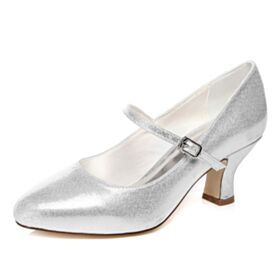 Mary Jane Mid High Heeled Bridal Shoes Pointed Toe Glitter Prom Shoes Cone Heel Silver Sparkly Pumps