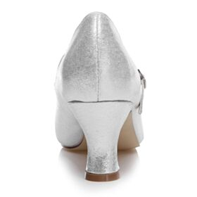 Con Tacco Medio Décolleté Luccicante Scarpe Da Cerimonia Lacci Caviglia Scarpe Da Sposa Argento Glitter A Punta