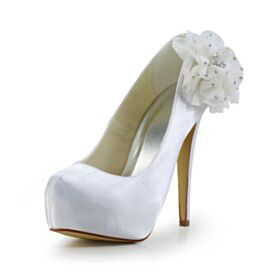 Platform Stiletto White Elegant Pumps Satin 5 inch High Heel