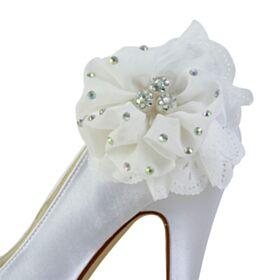 Blanche Élégant Chaussure De Mariée Plateforme 13 cm Talon Haut Satin Talons Aiguilles Bout Rond Escarpins Femmes