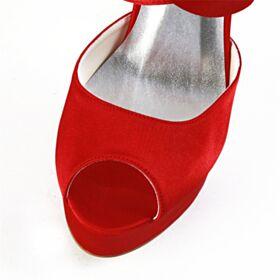 Bruidsmeisjes Schoenen Bruidsschoenen Strappy Plateau Sandalen 2020 13 cm Hoge Hakken Rode Stiletto Peep Toe