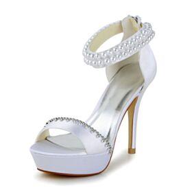 De Tiras Plataforma Tacon Alto 10 cm Sandalias Zapatos De Novia Elegantes Blancos Peeptoes Perlas Stilettos