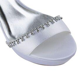 Brautschuhe Sandalen Weiß Satin Elegante Peeptoes Plateau Knöchelriemen Stilettos High Heel