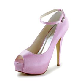 Light Pink 5 inch High Heel Platform Peep Toe Satin Pumps Dress Shoes Wedding Shoes Cute Ankle Strap Elegant