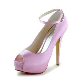 Satin Peeptoes Stilettos Plateau Pumps Mit 13 cm High Heel Pink Schöne Knöchelriemen Schönes Brautschuhe