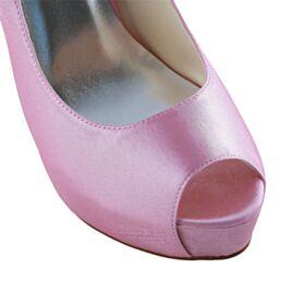 Tacones Altos 13 cm Bonitos Zapatos Tacones Zapatos Novia De Satin Peep Toe Con Plataforma Stiletto Color Rosa Elegantes