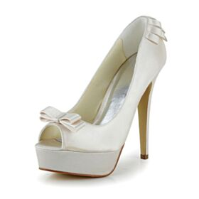 Con Plataforma Elegantes Satin Peep Toe Stiletto Zapatos Tacon Tacones Altos 13 cm Color Champagne