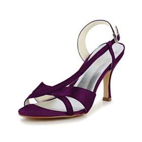 Riemchensandaletten Peeptoes Aubergine Stilettos Satin Brautjungfer Schuhe High Heels Sandaletten Damen