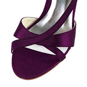 Elegante Stiletto Satijnen 8 cm High Heels Aubergine Peep Toe Bruidsmeisjes Schoenen Sandalen Dames