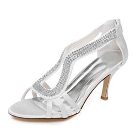 Talon Aiguille Peep Toes 8 cm Talons Hauts Sandale Élégant Blanche Chaussure Mariage Avec Strass À Bride