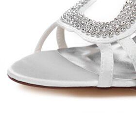 Elegantes Tiras Sandalias Stilettos De Satin Zapatos Para Boda Tacon Alto Blancos Con Strass