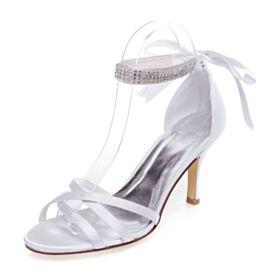 Elegantes Peep Toe 8 cm Tacon Alto De Tiras Blancos Stiletto Con Strass Sandalias Mujer