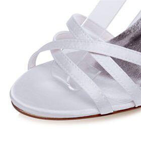 Satin Stilettos Riemchensandaletten Elegante Weiß Peeptoes Mit Strasssteine Knöchelriemen Hochzeitsschuhe Sandaletten