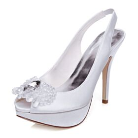 Platform Stilettos White Bridal Shoes Elegant With Crystal 12 cm High Heeled Peep Toe Pumps