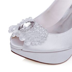 Weiß Plateau Brautschuhe Peeptoes Absatzschuhe Stilettos Mit Kristall