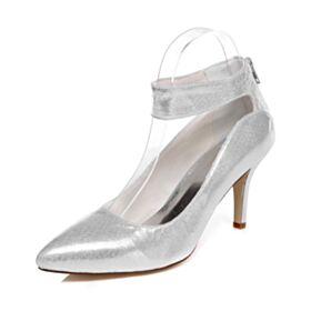 Stiletto Trouwschoenen Runtige Neus Glitter Pumps  Feest Schoenen Sparkle Zilveren 8 cm High Heels
