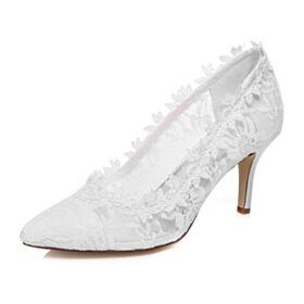 8 cm Tacon Alto En Punta Fina Blanco Stilettos Zapatos De Novia Zapatos Tacones De Encaje Elegantes