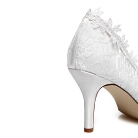 3 inch High Heeled Appliques Bridal Shoes White Pointed Toe Pumps Dress Shoes Lace