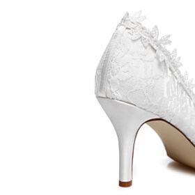 Dentelle Blanche Talons Aiguilles Escarpins Chaussure Mariée Appliques 8 cm Talon Haut Élégant