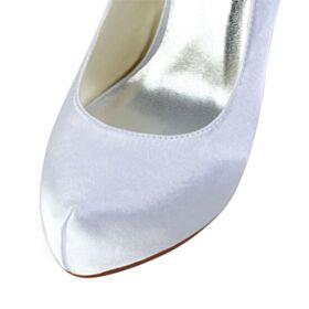 Zapatos Tacon Stiletto Blanco 13 cm Tacon Alto Punta Redonda Elegantes Plataforma Zapatos De Novia