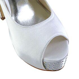 Escarpins Bout Ouvert Élégant Chaussure De Mariée Plateforme Satin Talon Haut Blanche