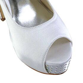 White Stiletto Pumps Dress Shoes Bridals Wedding Shoes Peep Toe Elegant Platform Satin High Heel