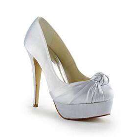 Talons Aiguilles Satin 13 cm Talon Haut Bout Rond Chaussure De Mariée Élégant Ivoire Plateforme Avec Noeud Escarpins Femmes