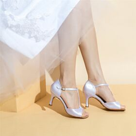 White Stilettos Bridal Shoes Satin Mid High Heeled Womens Sandals Elegant
