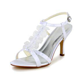 8 cm High Heels Mooie Met Volant Peep Toe Enkelband Stiletto Trouwschoenen Sandalen Tule