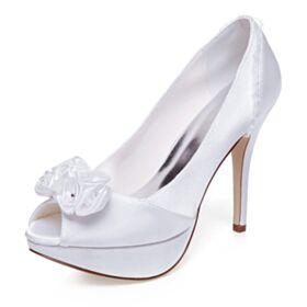 Elegante 12 cm High Heel Witte Bruidsschoenen Stiletto Pumps Peep Toe Plateau