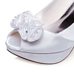 12 cm Tacon Alto De Plataforma Zapatos Tacones Peeptoes De Saten Stilettos Blancos Elegantes Zapatos De Boda