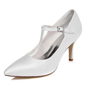 De Saten Elegantes Zapatos Mujer Tacon Alto 8 cm Blanco Stiletto