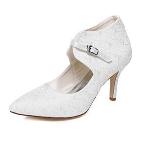 Chaussure Mariée Bout Pointu Escarpins Femmes 8 cm Talons Hauts Élégant Talons Aiguilles Vintage Brodé
