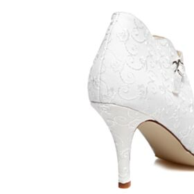 Pumps Dress Shoes Embroidered Stiletto Wedding Shoes White 3 inch High Heel Elegant Winter