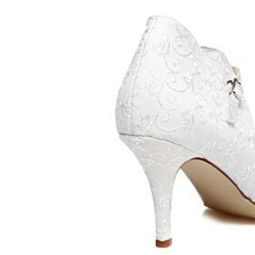 Vintage Elegantes Tacones Altos Zapatos De Novia Blancos Bordado Stilettos Zapatos