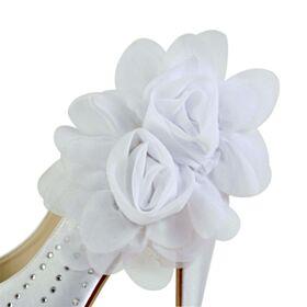 Satin Plateau Brautschuhe Elegante Stilettos Weiß Runde Zeh Pumps