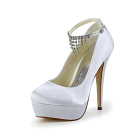 Platform Pumps Dress Shoes Stiletto Ivory High Heel Round Toe Fringe 2020 Ankle Strap Rhinestones Beautiful Bridal Shoes