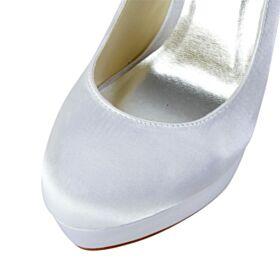 13 cm Talon Haut Chaussure De Mariée Plateforme Talon Aiguille Ivoire Strass Escarpins Bride Cheville