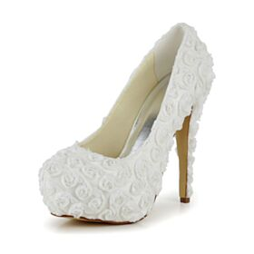 Lace Stilettos Elegant Satin Prom Shoes High Heel Platform Ivory Cute Pumps