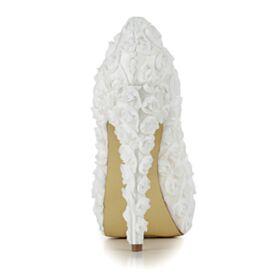 Avorio Tacco Alto 13 cm Fiore Tacco A Spillo Plateau Scarpe Cerimonia Scarpe Sposa Décolleté In Pizzo Eleganti
